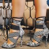 Black and White Lace up Sandals Peep Toe Stiletto Heels for Women thumb 1