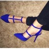 Women's Blue Stiletto Heel Pointed Toe Pumps T-strap  Shoes thumb 1