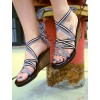 Women's White Open Toe Lace Up Strappy Wedge Heels Sandals thumb 1