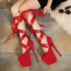 Red Stripper Heels Suede Lace up Platform Pumps High Heel Shoes thumb 1