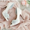 Women's White Platform Rhinestone Flower Stiletto Heel Bridal Heels Pumps thumb 1