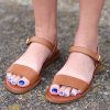 Tan Sandals Open Toe Summer Flat Sandals thumb 1