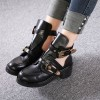 Black Buckle Boots Round Toe Low Heel Cut out Ankle Boots thumb 1