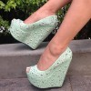 Pale Green Heeled Wedges Peep Toe Platform Studs Pumps thumb 1