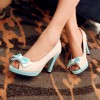 Ivory and Aqua Shoes Peep Toe Chunky Heel Pumps Cute Bow Heels thumb 1