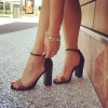 Black and Tan Two Tone Wide Width Heels Ankle Strap Block Heel Sandals thumb 1