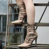 Women's Pointy Toe Khaki Strappy Heels Lace Up Summer Ankle Boots thumb 1