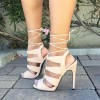 Women's Ivory Lace up Stiletto Heels Strappy Sandals thumb 1