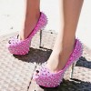 Women's Hot Pink Rhinestone Rivets Stripper Heels Pumps thumb 1