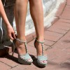 Women's Grey Platform Peep toe Sandals T-Strapy Buckle Stiletto Heels thumb 1