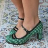 Women's Green Mary Jane Shoes Vintage Chunky Heels Pumps thumb 1