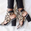 Leopard Print Summer Boots Suede Lace up Chunky Heel Ankle Boots thumb 1