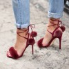Burgundy Pom Pom Shoes Ankle Wrap Furry Heels Cute Strappy Sandals  thumb 1