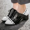Black and White Patent Leather Vintage Shoes Women's Brogues thumb 1