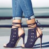 Women's Navy Peep Toe Slingback Hollow Out Strappy Heels Summer Boots thumb 1