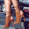Women's Tan Slingback Hollow Out Strappy Heels Summer Boots thumb 1