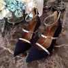 Navy Kitten Heels Ankle Strap Pointy Toe Pumps for Women thumb 1
