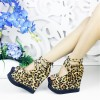 Leopard Print Shoes Suede Wedge Heels with Platform thumb 1
