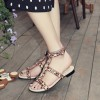 Women's Rhinestone Embellished Leopard Print Shoes T-strap Flat Sandals thumb 1