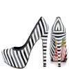 Women's White And Black Stiletto Heels Floral Print Platform Almond Toe Pumps thumb 1