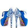 Royal Blue Lace up Boots Matryoshka Doll Print Ankle Booties thumb 1