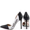 Women's Black And White Floral Stiletto Heels Pointy Toe Pumps thumb 1