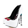 Women's White Rivets Floral Print Stiletto Heels Pumps Platform Heels thumb 1