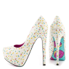 Women's White Floral Print Stiletto Heels Almond Toe Platform Shoes thumb 1