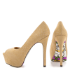 Women's Khaki Floral Print Stiletto Heels Peep Toe Platform Shoes thumb 1