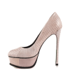 Nude Python Stiletto Heels Flower Printed Platform Heels Dress Shoes thumb 1
