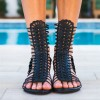 Black Gladiator Heels Mid-calf Open Toe Wedge Heels Sandals thumb 2