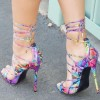 Multi-color Strappy Sandals Lace up Stiletto Heel Sexy Shoes thumb 3