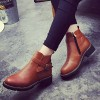 Women's Brown Round Toe Buckle Short Flats Vintage Boots thumb 2