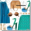 Green and Blue Chunky Heel Sandals Ankle Strap Heels Slingback Sandals thumb 5