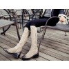 Beige Vintage Boots Suede Round Toe Knee-high Boots  thumb 2