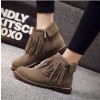 Brown Vintage Boots Round Toe Fringe Suede Ankle Boots thumb 2