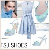 Women's Light Blue Crossed Ankle Straps Stiletto Heels Sandals thumb 4