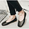 Women's Black Pearl Hollow Out Square Toe Vintage Comfortable Flats thumb 5