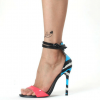 Hot Pink Ankle Strap Sandals Blue Python Open Toe Stiletto Heels thumb 7