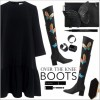 Black Thigh-High Boots Butterflies Suede Vintage Shoes Chunky Heels Boots thumb 6