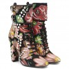Floral and Studs Lace up boots Buckles Chunky Heels Ankle booties thumb 4