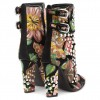 Floral and Studs Lace up boots Buckles Chunky Heels Ankle booties thumb 3