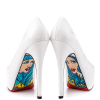 Women's White Navy Stiletto Heels Floral Print Platform Shoes thumb 2