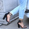 Black Ankle Strap Sandals Clear Open Toe Block Heels thumb 3