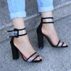 Black Ankle Strap Sandals Clear Open Toe Block Heels thumb 4