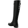 Black Tall Boots Round Toe Patent Leather Quilted Flat Knee Boots thumb 2