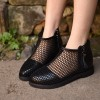 Black Summer Boots Round Toe Net Flat Fashion Short Boots thumb 3