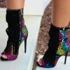Colorful Fringe Boots Peep Toe Stiletto Heels Fashion Ankle Boots thumb 2