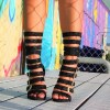 Black Gladiator Heels Glitter Multi Buckles Stiletto Heel Sandals thumb 3