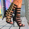 Black Gladiator Heels Glitter Multi Buckles Stiletto Heel Sandals thumb 4